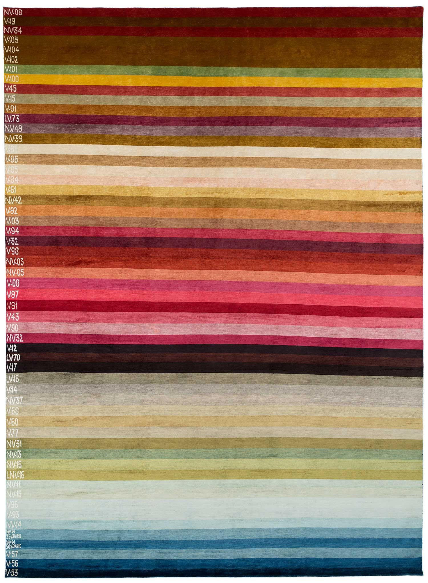 Our Color Spectrum rug is dyed with all natural dyes! An original design by Joseph Carini Carpets #interiordesign #color #stripes