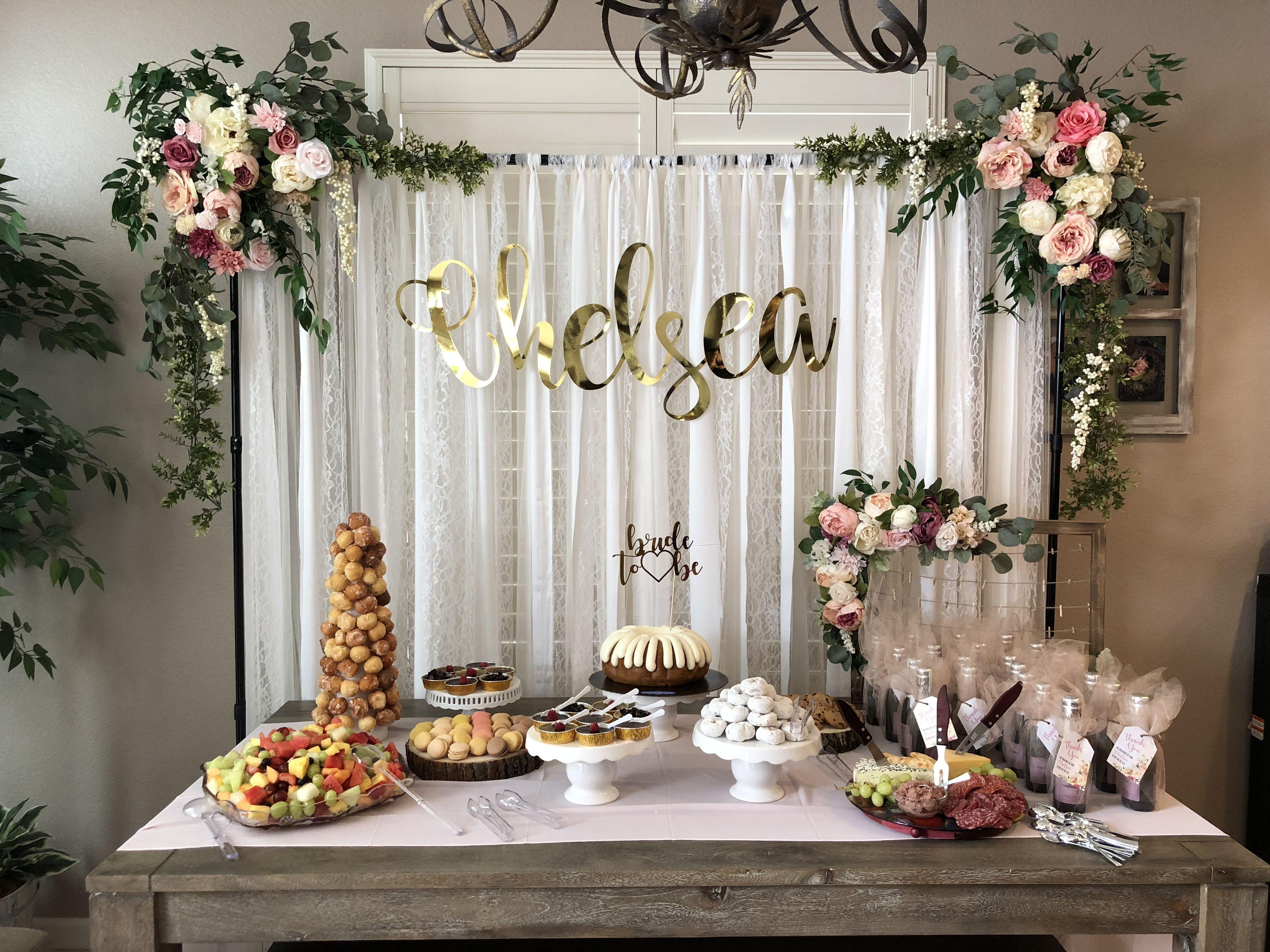 floral bridal shower backdrop