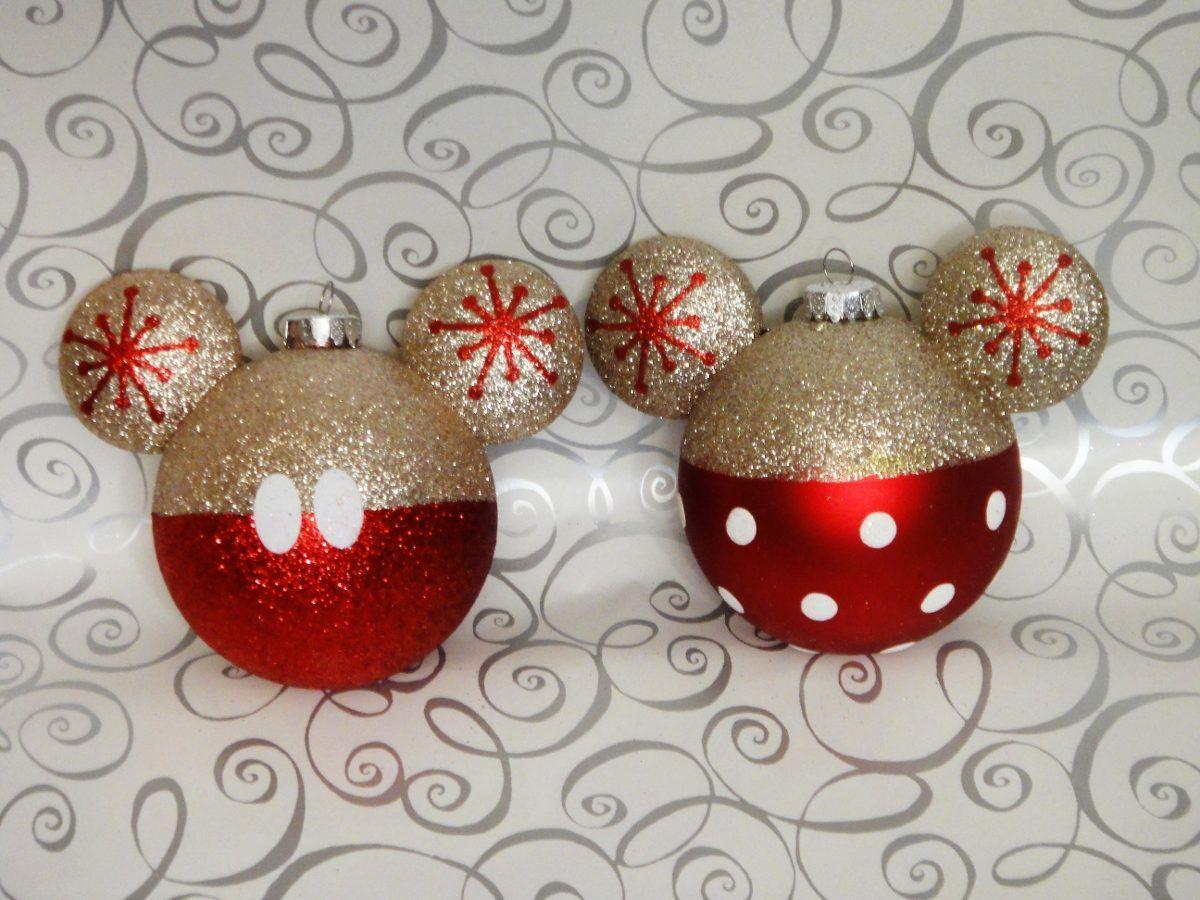 Mickey Mouse Decoracion Navidad Esferas Doradas Y Rojo