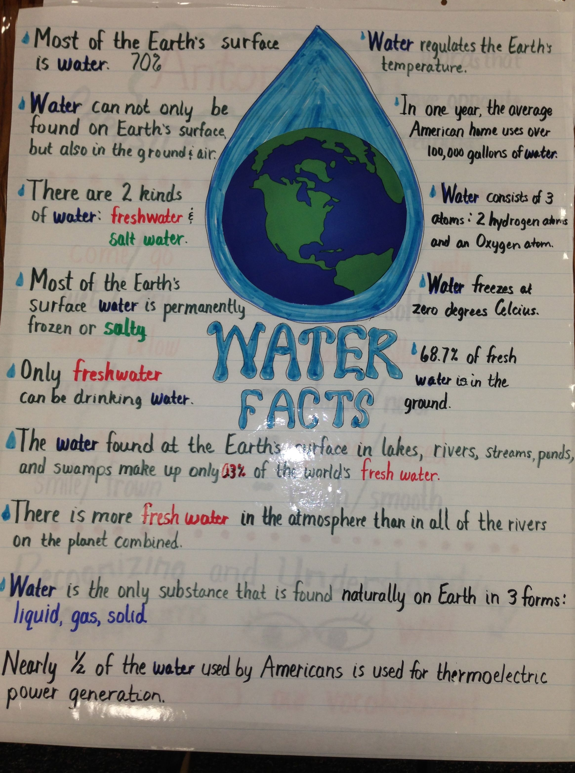 Water Facts Salt Water And Fresh Water Water Facts Water Lessons Water Cycle Activities