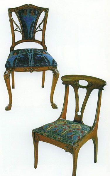 ART NOUVEAU DINING CHAIR Upholstered Back Height Width Depth