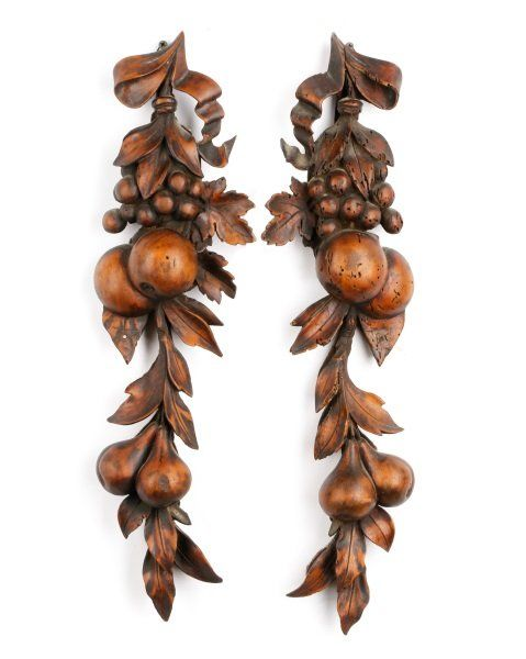 Pair of French Hand Carved Fruit Wall Hangings  Lot 712 Hammer