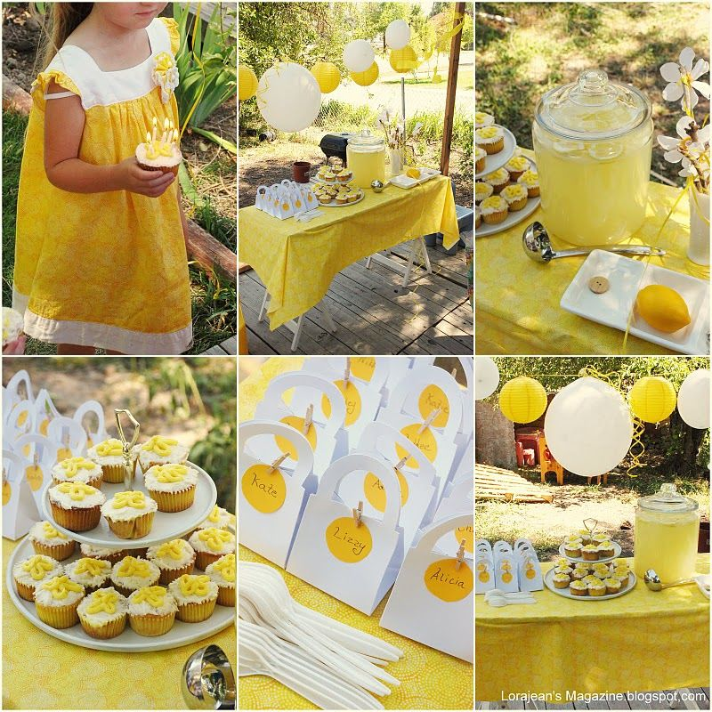 Cute yellow themed birthday party summer camp a boost a for Summer white party ideas