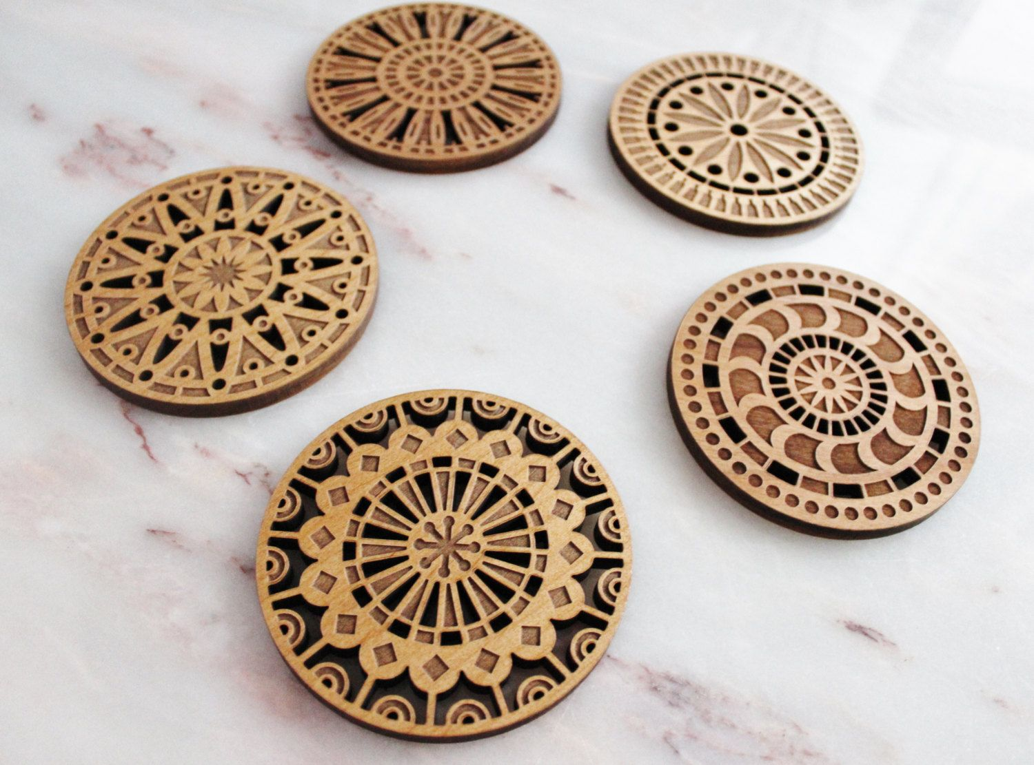 kaleidescope alder wood coaster set laser cutting