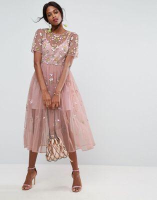 0370b6a7b0 ASOS - Vestito grembiule midi decorato | Fashion and Style in 2019 ...