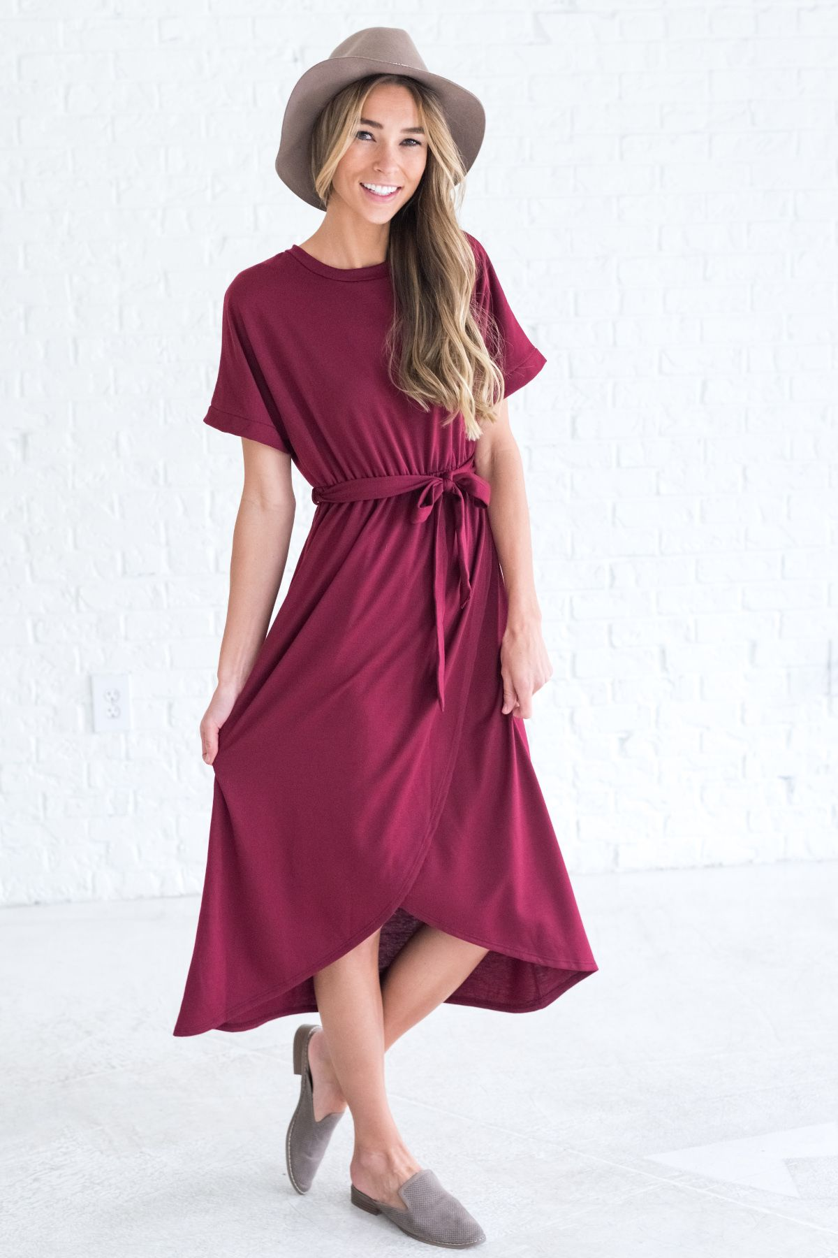 d27929b9458927 Happiness Looks Beautiful Burgundy Dress
