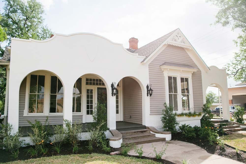 Fixer Upper Front Porch Landscape Grey Exterior And