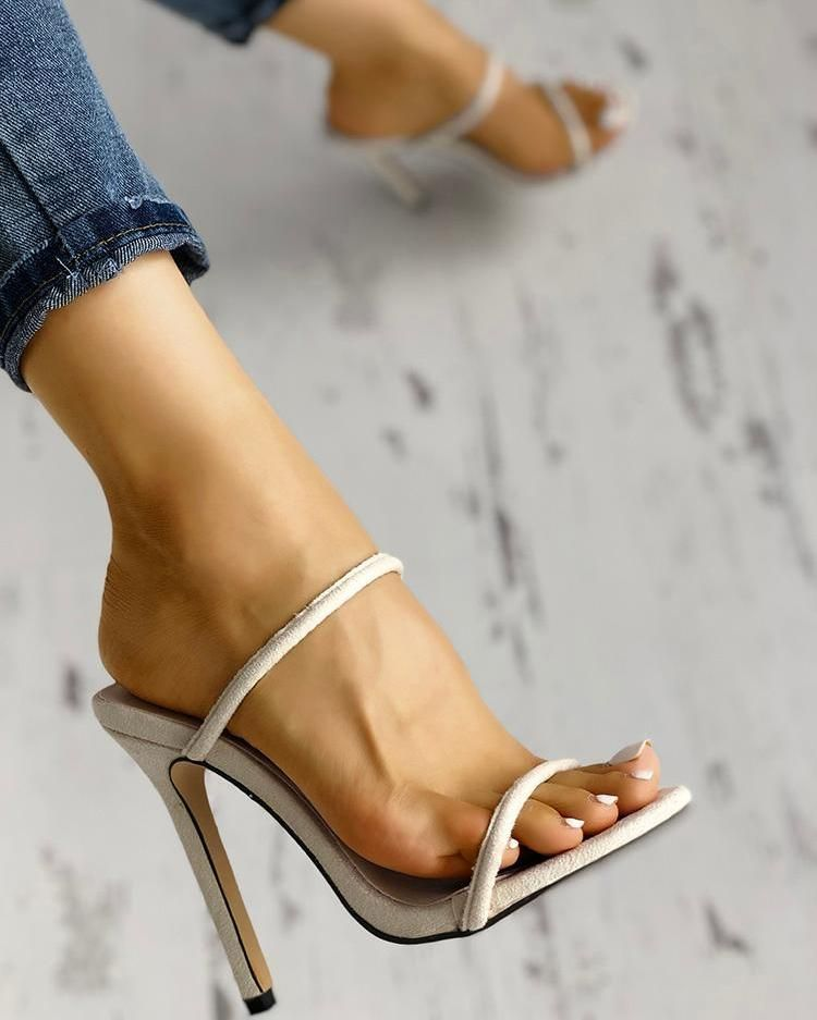 Double Strap Thin Heeled Sandals #shoes