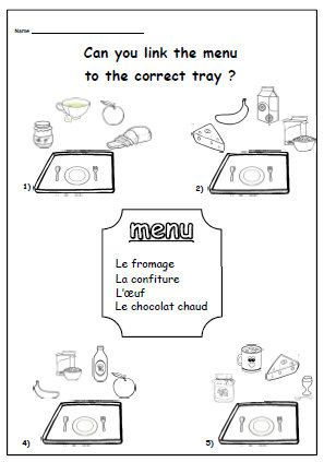 breakfast french worksheet primary resources ks1 ks2 food and eating words in french match the. Black Bedroom Furniture Sets. Home Design Ideas