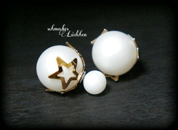 Weiße Perlen DoppelPerlen Ohrstecker von byschmuckesLaedchen
