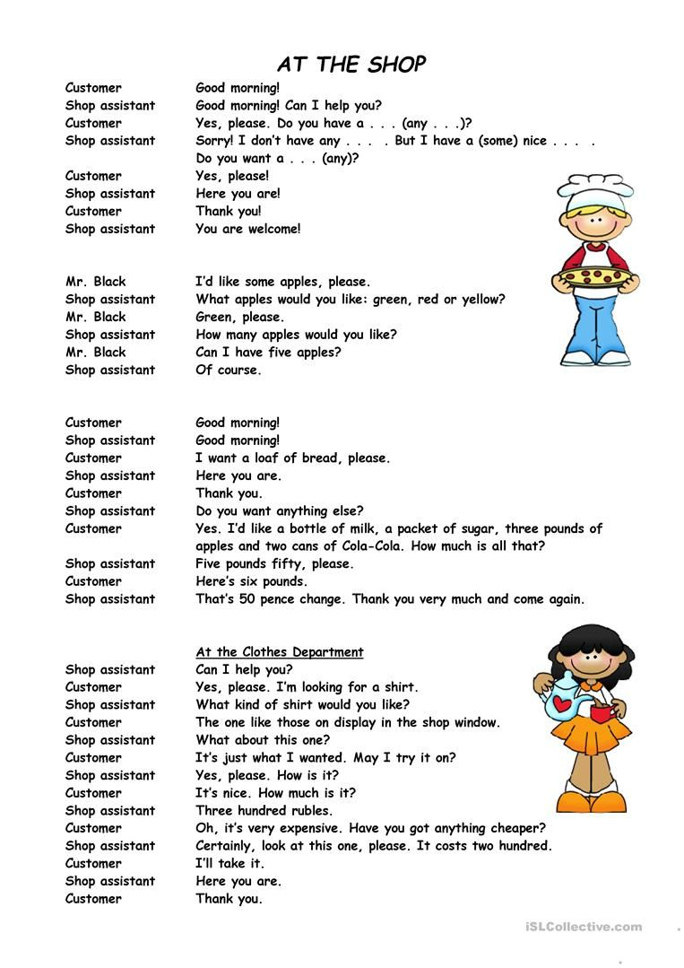 Shops And Shopping English Conversation For Kids English Lessons For Kids English Worksheets For Kids [ 1079 x 763 Pixel ]