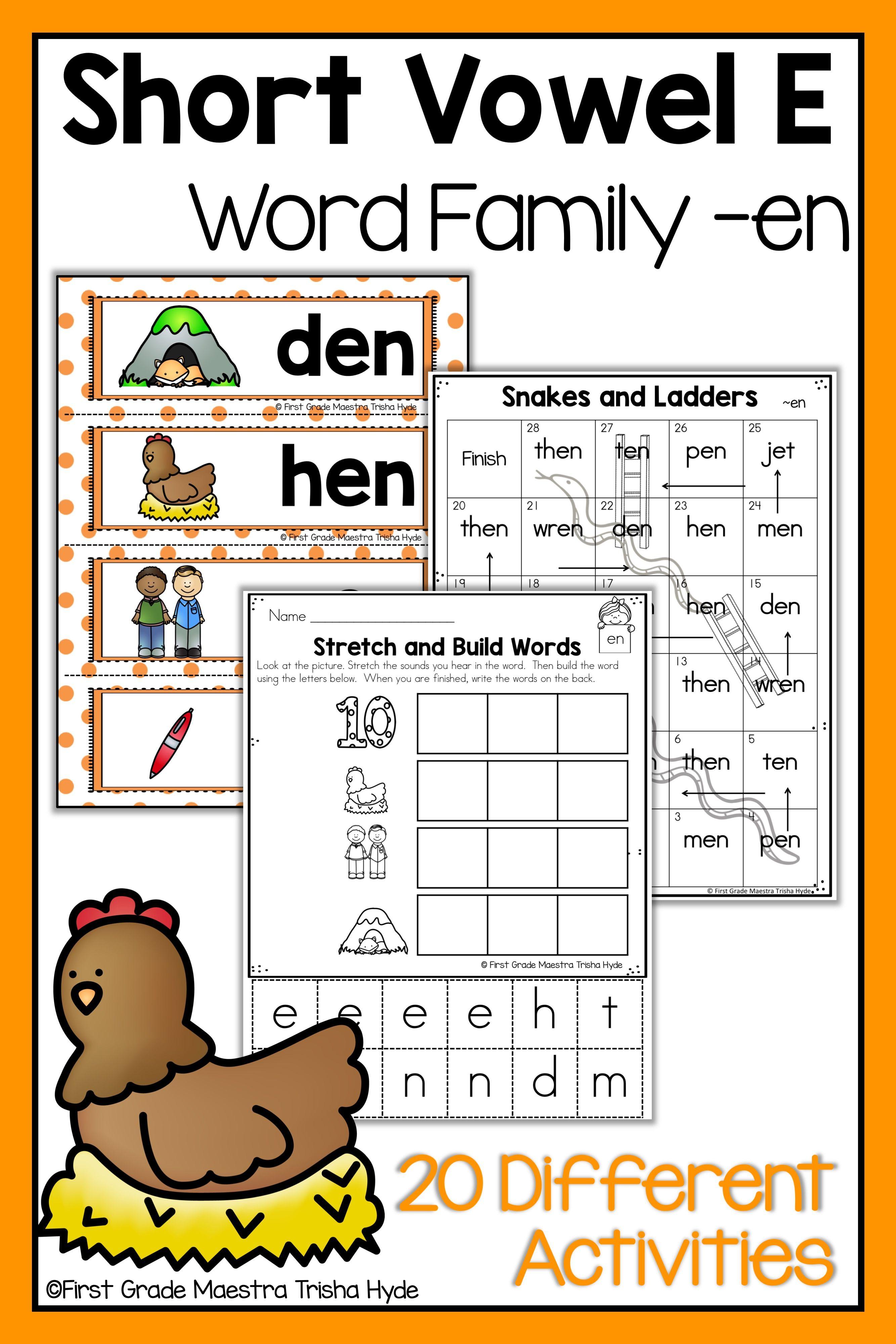 Word Family En Word Work Word Families Short Vowel Words Ccvc Words