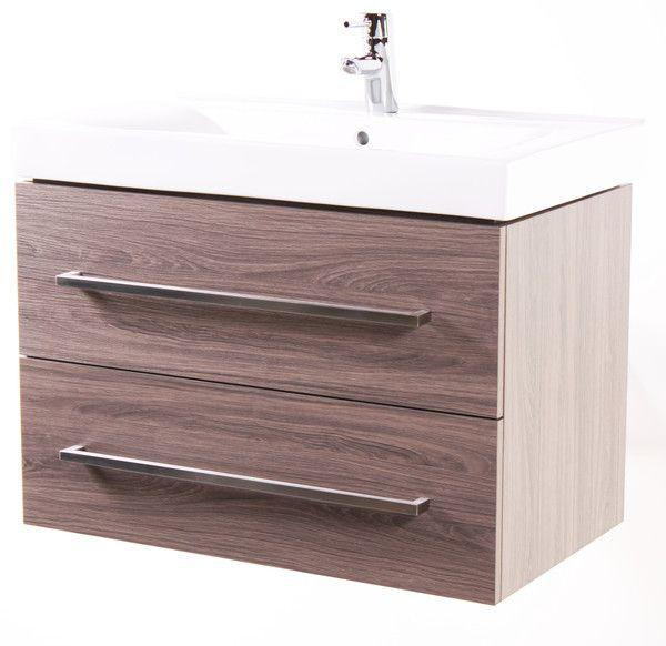 "Naos 32"" Grey Oak, Modern Wall Mount Bathroom Vanity - The ..."