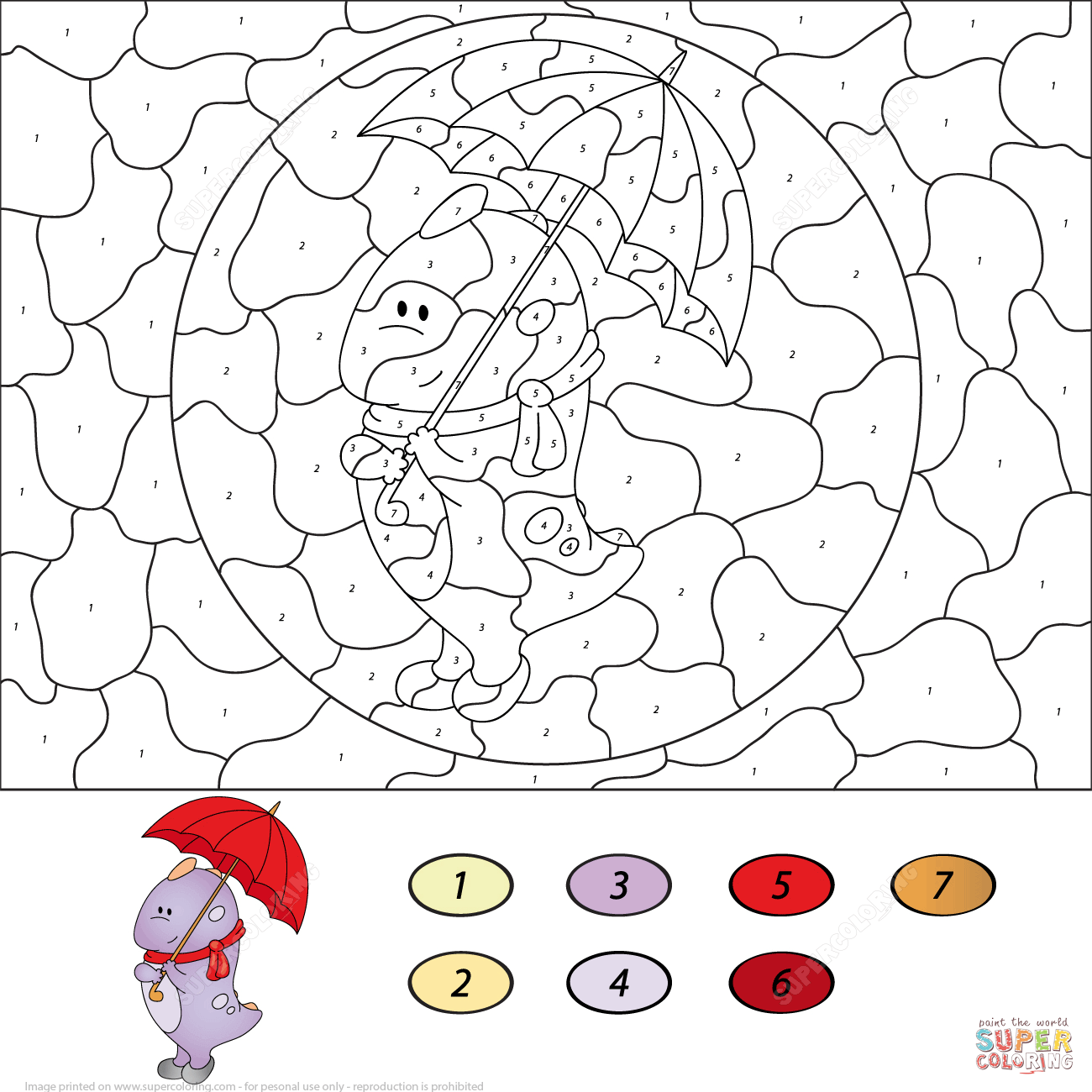 Cute Dragon Wiht Umbrella Color By Number Coloring Page