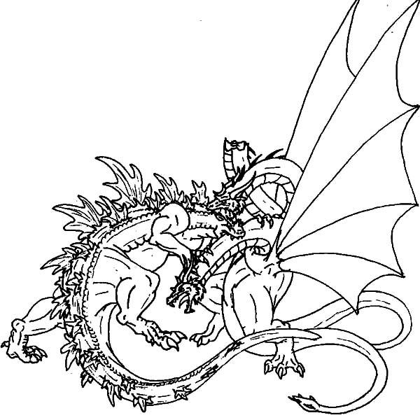 Great Fight Of Godzilla And Dragon Coloring Pages Color Luna Dragon Coloring Page Coloring Pages Godzilla