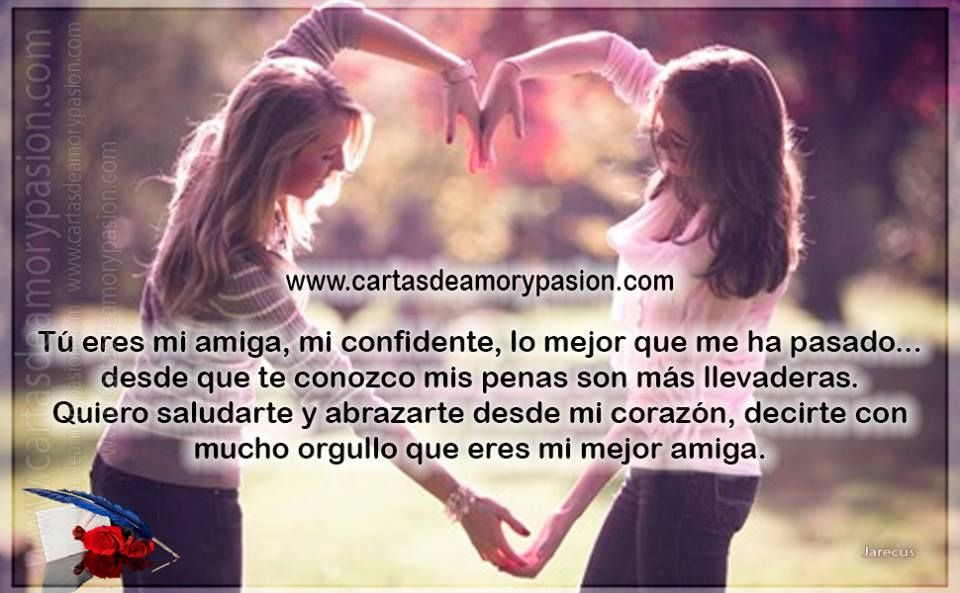 Mi Mejor Amiga Cartas De Amor Y Pasion Tarjeta Para My Best