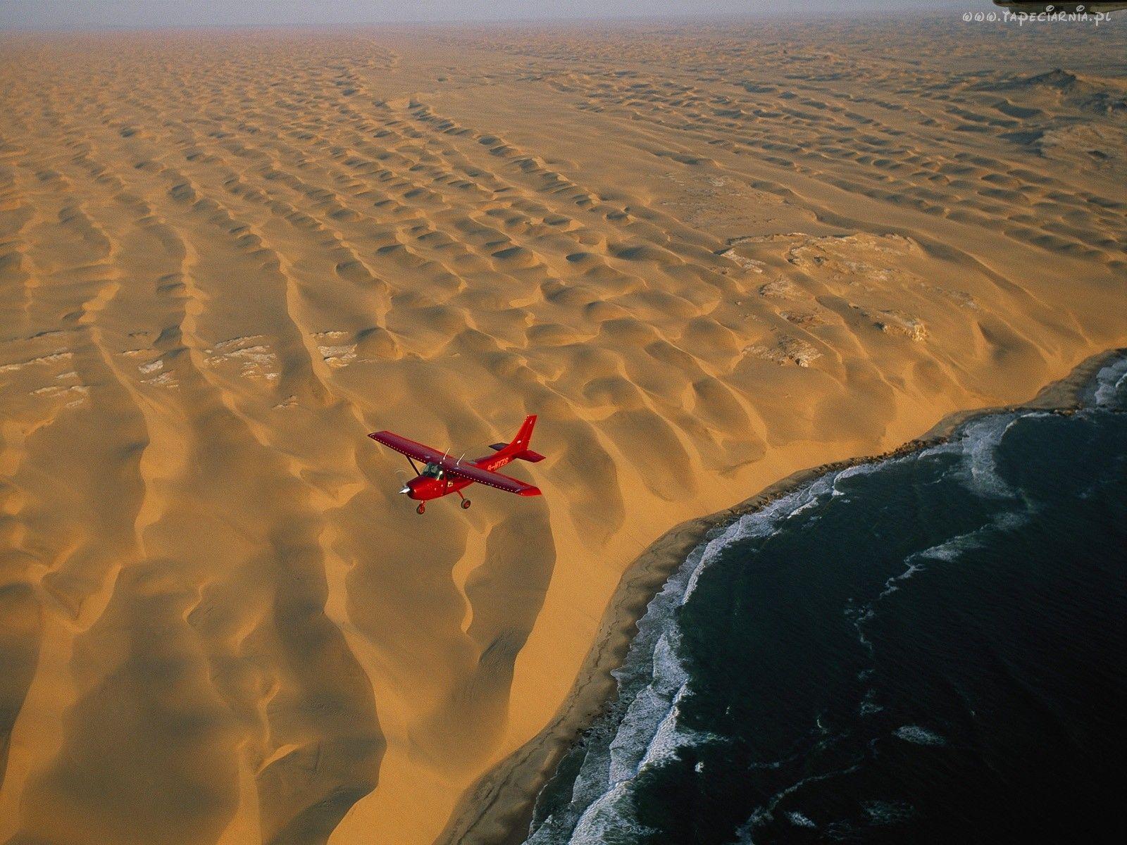Morze, Pustynia, Samolot, Namibia