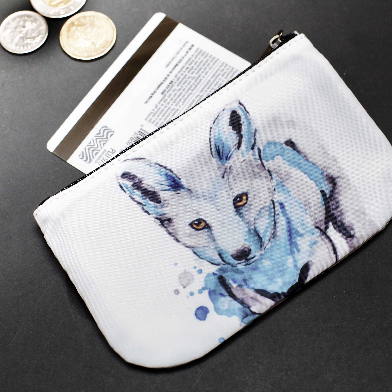 Watercolor Fox Zipper Coin Purse Baby Blue Animal Accessory