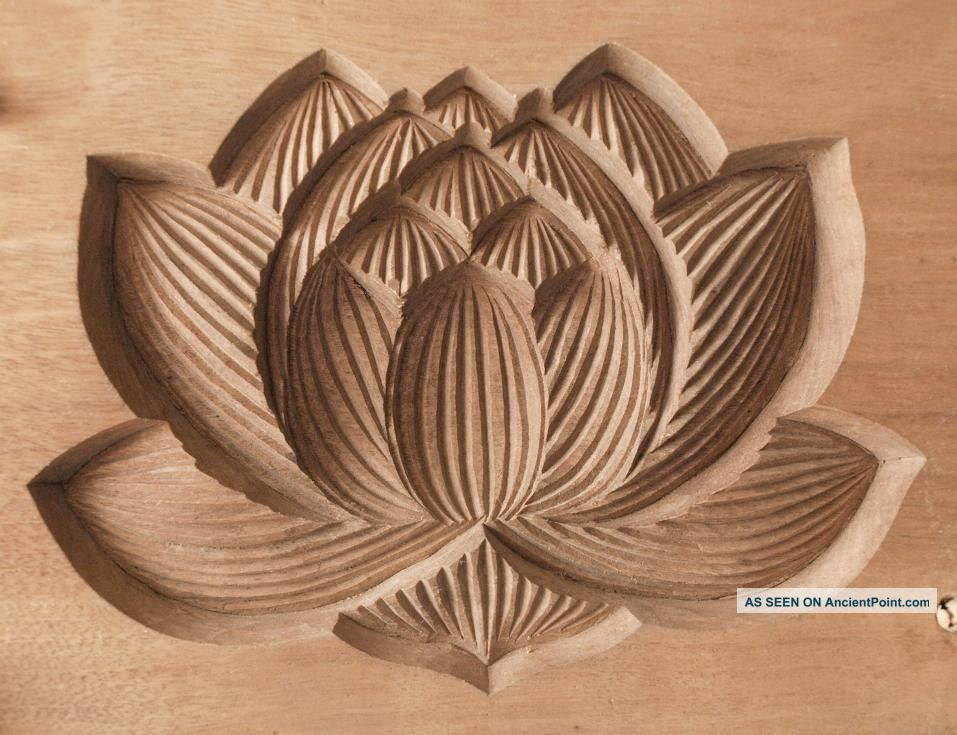 Japanese Antique Kashigata Lotus Flower W Cover Hand Carved Wooden