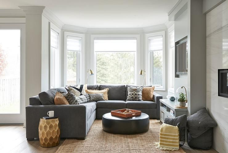 Best Welcoming Gray Contemporary Living Room Features A Gray 640 x 480