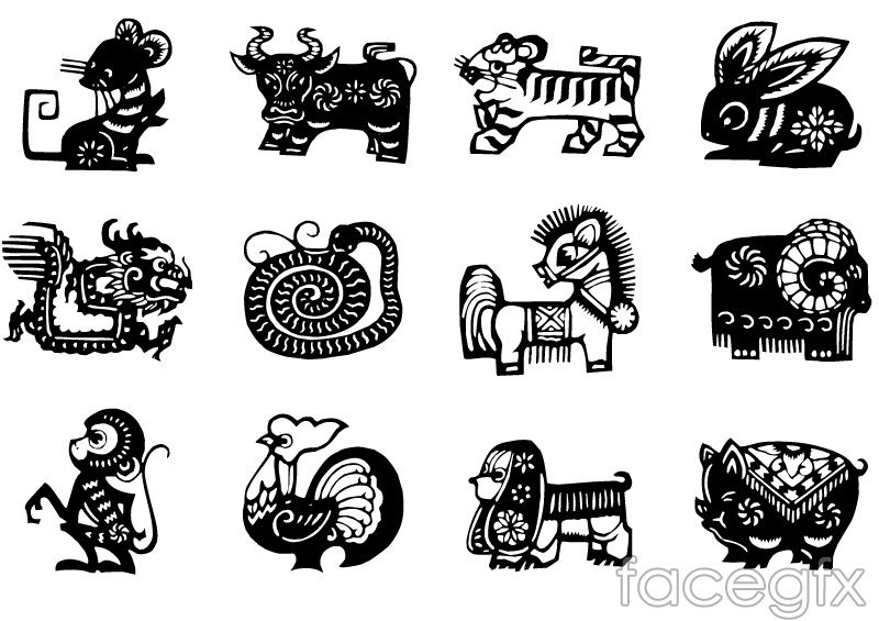 Chinese Zodiac Sign Black PaperCut Vector  Free Vectors