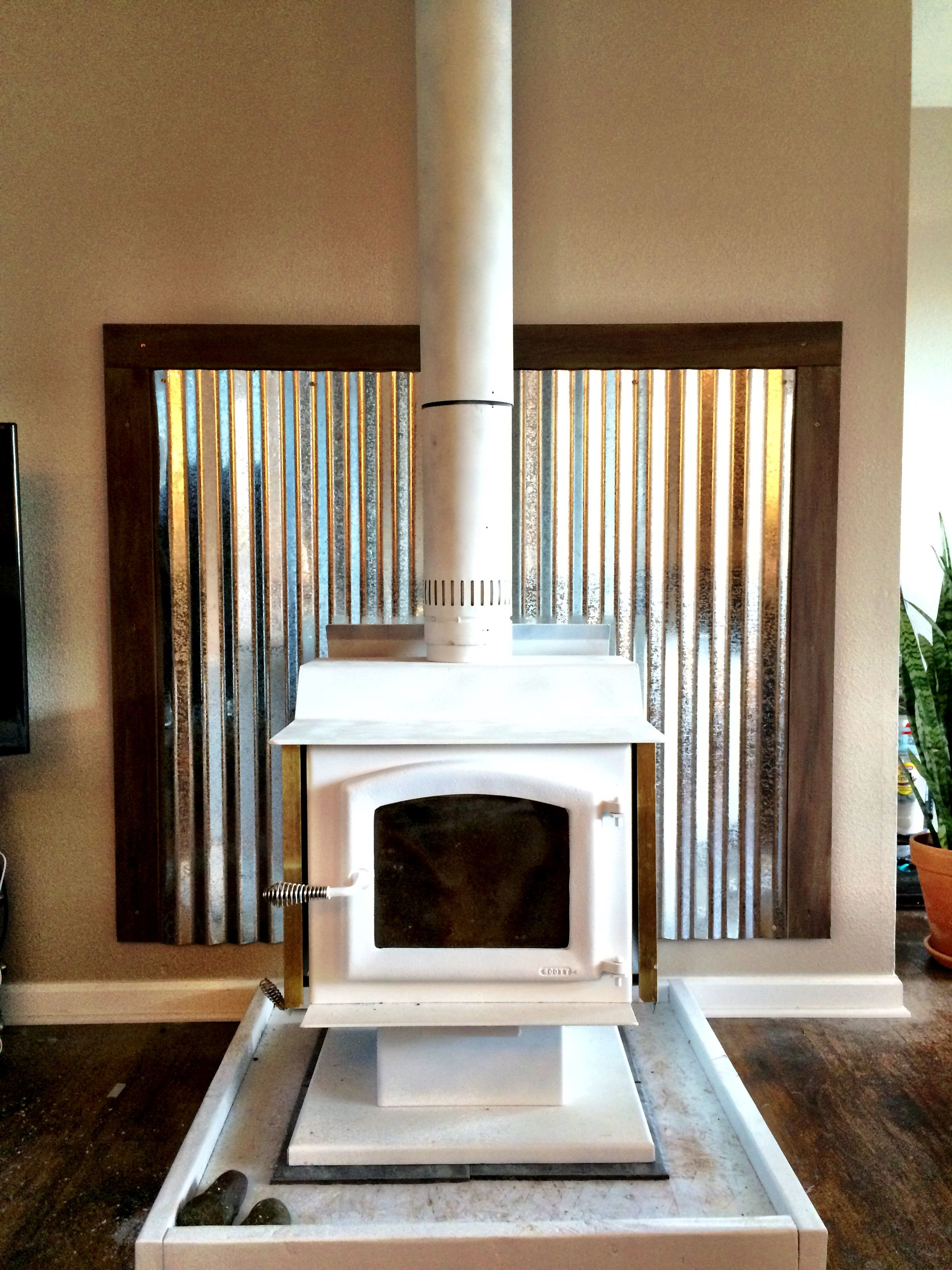 Corrugated Metal Interior Design Just Installed This Wood Stove We Used Marble Tile Corrugated