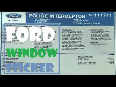 Ford Window Sticker Lookup Sticker Link By Vin