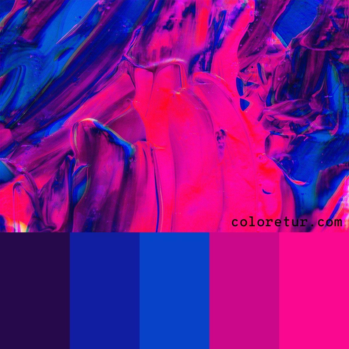 Neon Paint - Bright pink and blue swirls make this neon ...