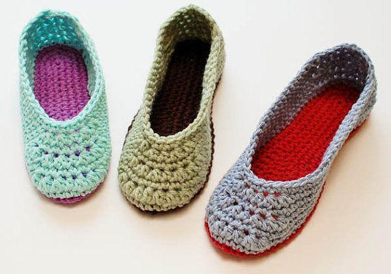 Crochet Pattern Ladies Crochet Slippers Pattern Womens Sizes 45