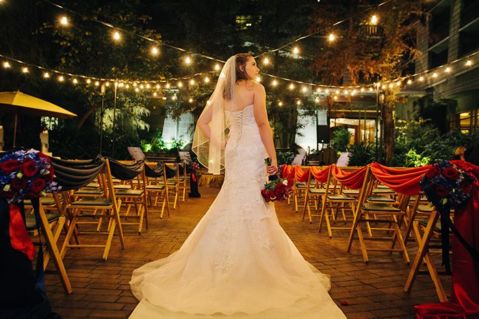 Wedding Dress Enchanted Ceremony In Brisa Courtyard At Disney S Grand Californian Hotel