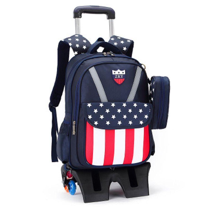 6 wheels Trolley schoolbag brand fashion backpack wheels teenagers ...