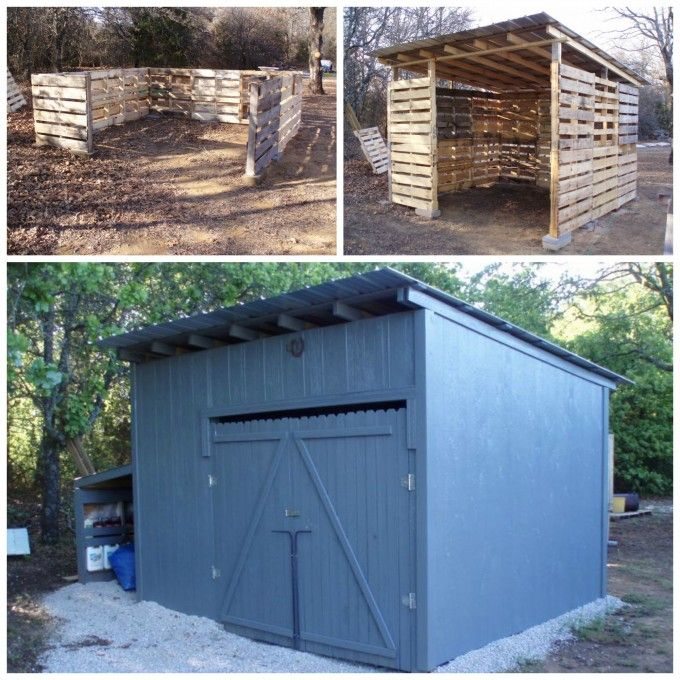 C mo construir un cobertizo al aire libre fuera de for Banco de paletas al aire libre