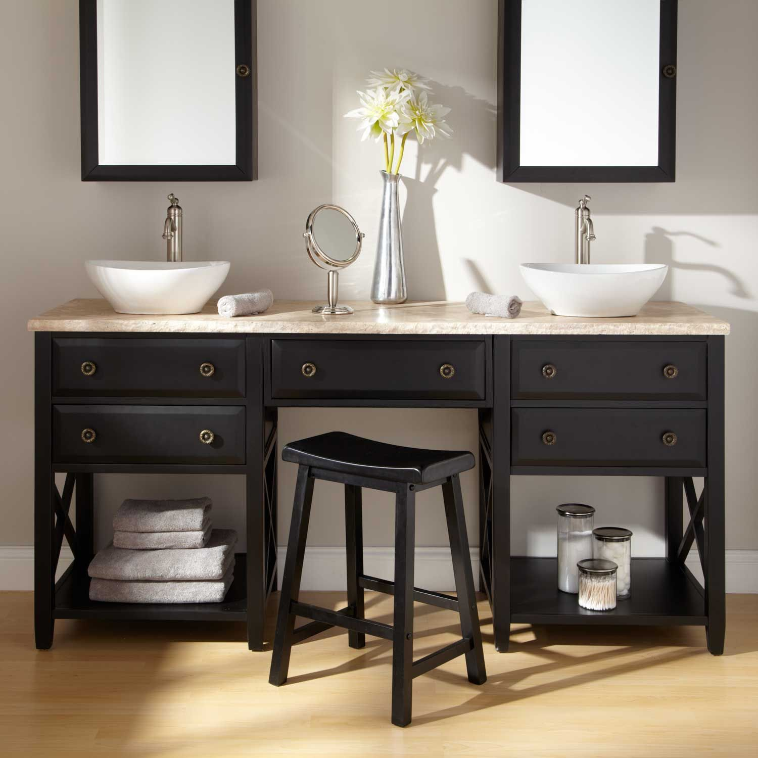 stylish double sink vanity with black wooden base open storage stylish double sink vanity with black wooden base open storage particular bathroom ideas