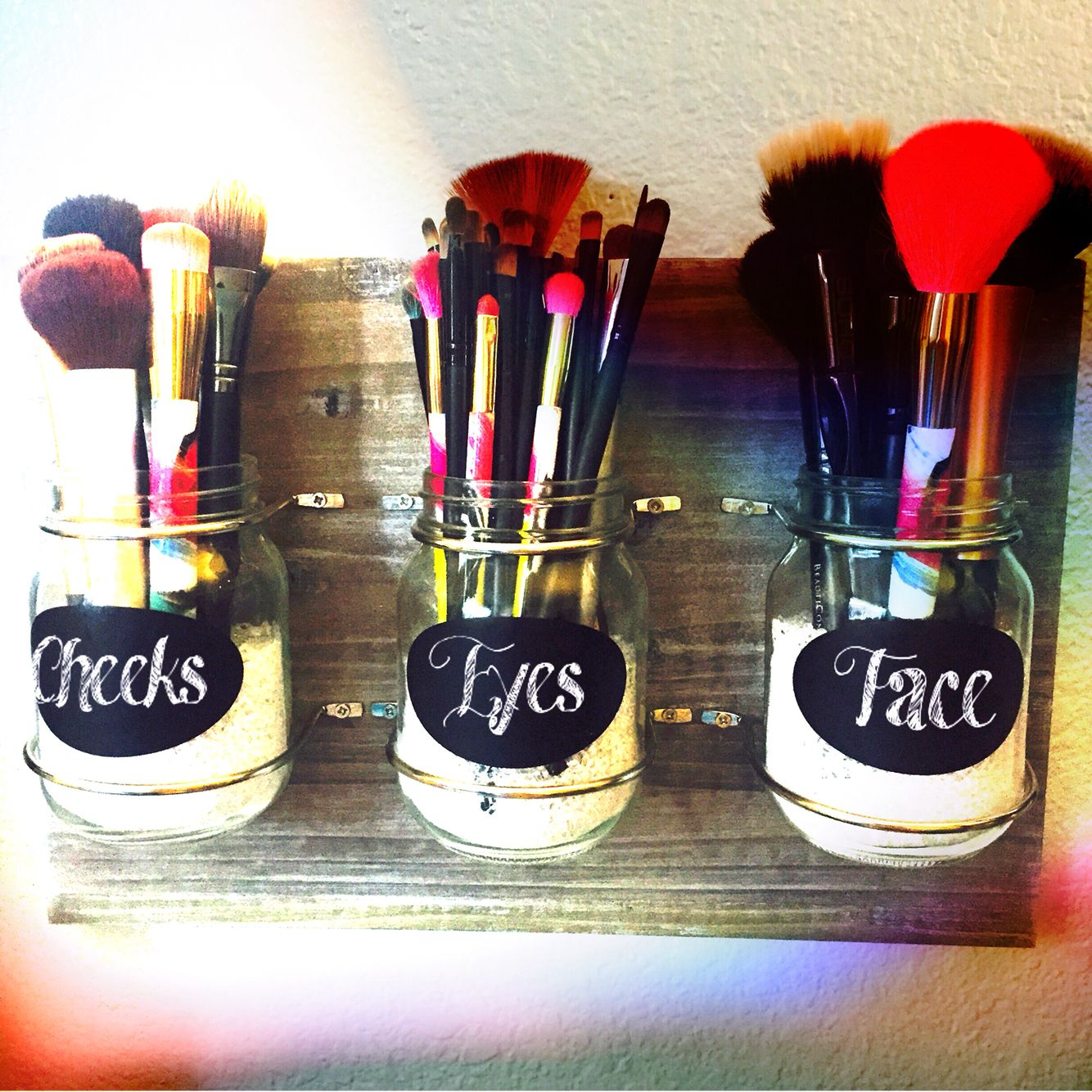 mason jar makeup brush holder beauty pinterest