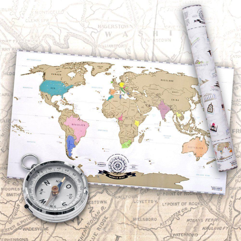 Scratch Off World Map Weltkarte Zum Rubbeln Rubbel Landkarte