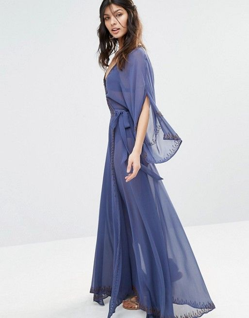 The Jetset Diaries | The Jetset Diaries Las Perlas Chiffon Embellished Kimono Maxi Dress