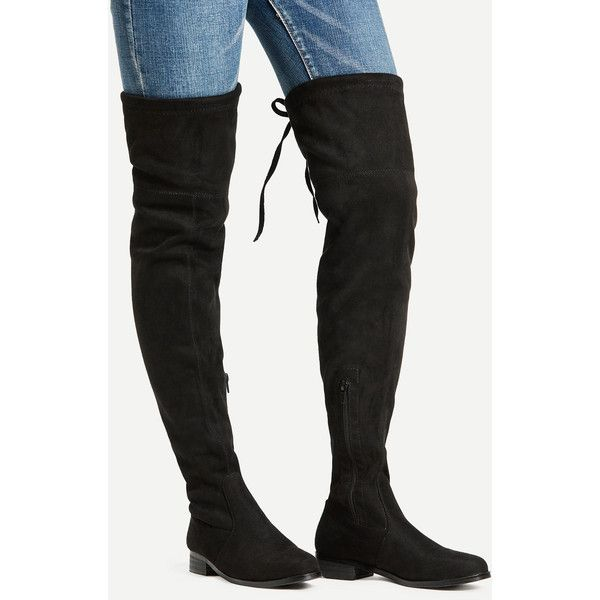 f27ccf6c53 SheIn(sheinside) Almond Toe Lace Up Over The Knee Boots ($37) ❤ liked on  Polyvore featuring shoes, boots, black, thigh high lace up boots, black  boots, ...