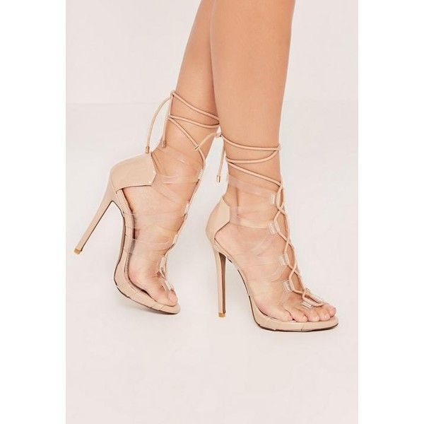 Missguided Lace Up Flat Gladiator Sandals Nude in Natural