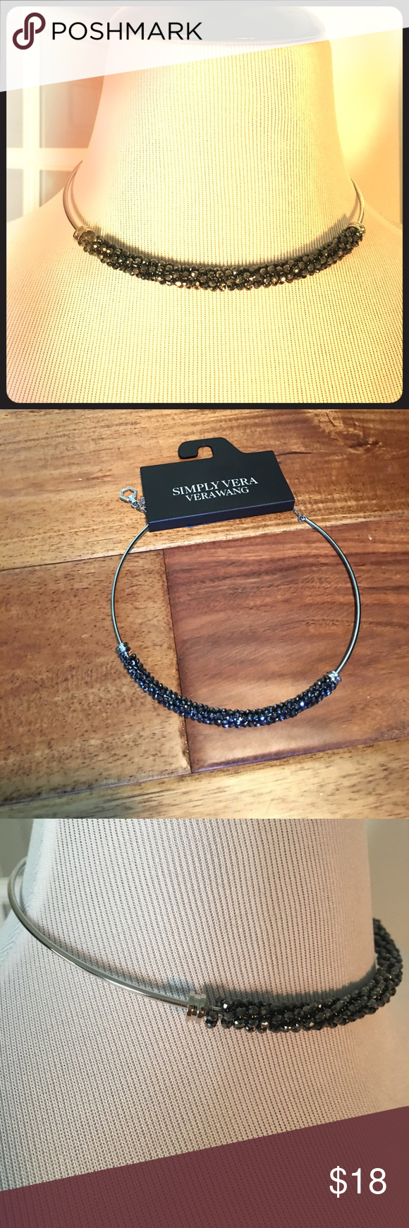 Vera Wang Choker Unique Vera Wang Choker has just enough bling to wear when dressing up for the evening or for more casual t-shirt and jeans days.  Clasp in the back can adjust and the end of the silver colored chain has beautiful dangling hardware.  Dark colored beads surround the front wire and catch the light perfectly to give you just little sparkle.  💕 Simply Vera Vera Wang Jewelry Necklaces