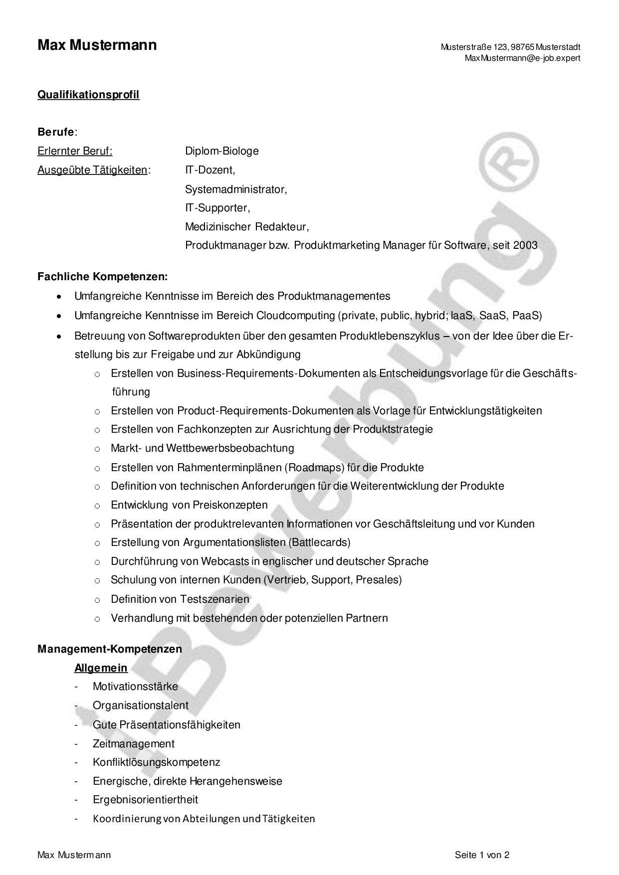 Vorlage Kompetenzprofil Cv Im Textfeld Blau Cv Bewerbung