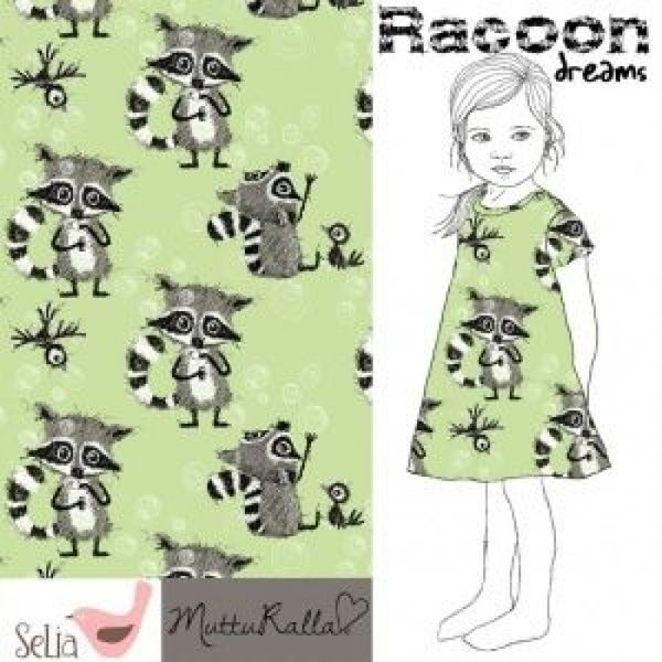 Raccon Dreams* Bio-Jersey Grün *Angebot* Waschbär von Kunterbuntes auf DaWanda.com