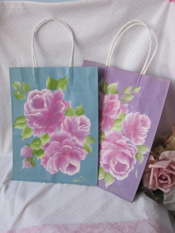 Set of 2 Handpainted Rose Gift Bags by RoseChicFriends on Etsy, $7.99