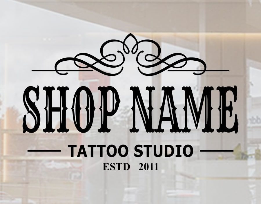 Custom tattoo studio stickers with your shop name for window signage ...