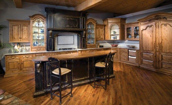 holzküche landhausküche dunkle kücheninsel vintage look   Küche ...