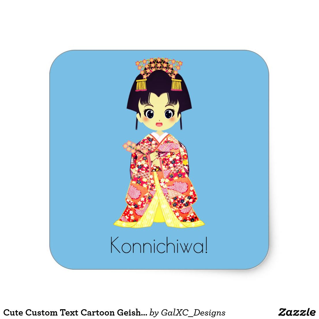 Cute custom text cartoon geisha japanese sticker