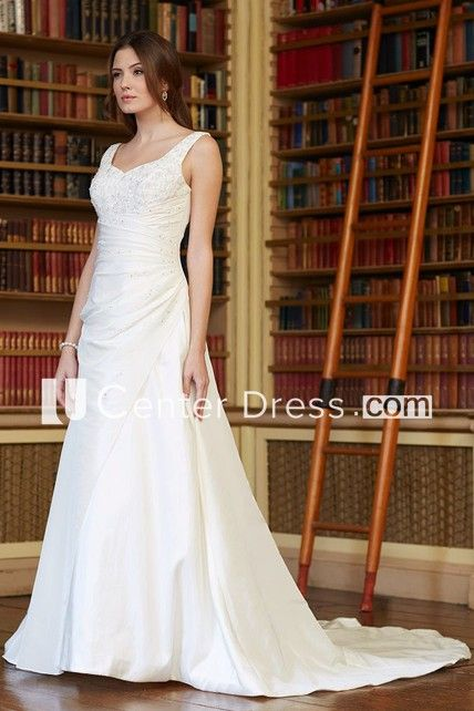 70b9589a76d A-Line Long Beaded V-Neck Sleeveless Satin Wedding Dress With Low-V Back  And Side Draping