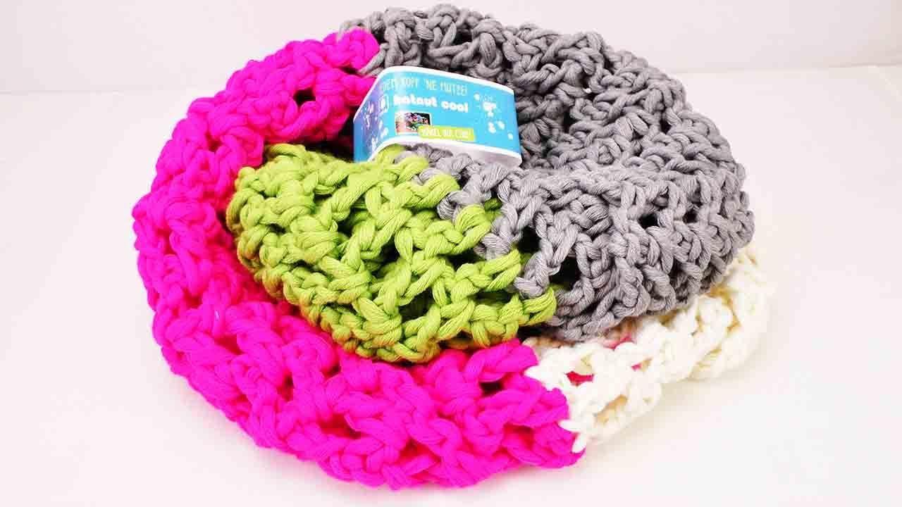 Lochmuster häkeln Anleitung - Schal einfach häkeln mit Halnut Cool Wolle