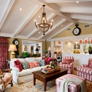 Adorable French Country Style Living Rooms With Striped And Floral ...