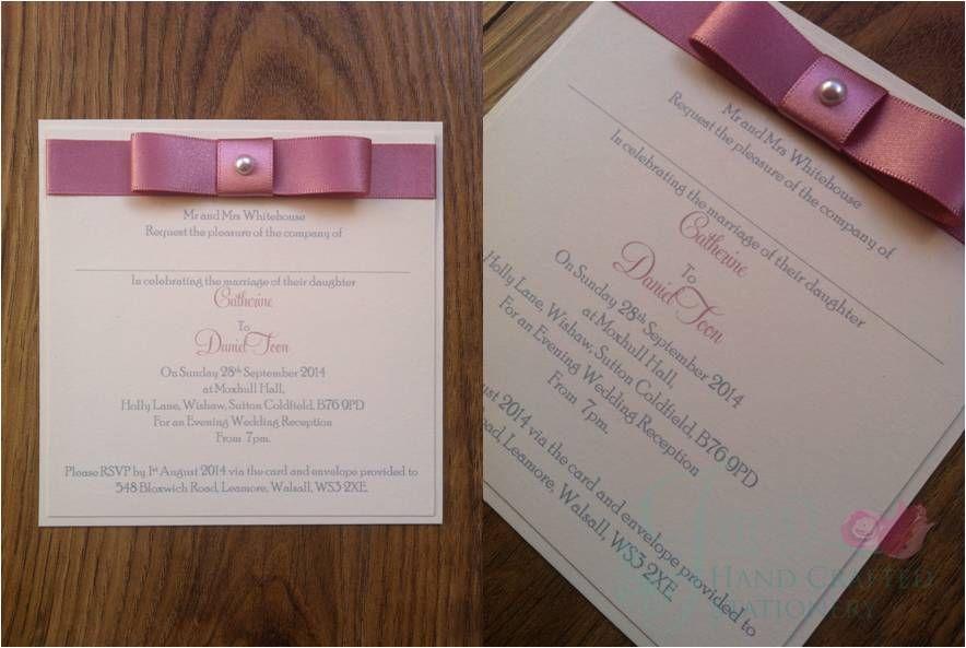 Dusky Pink Post Card Wedding Invitation www ...
