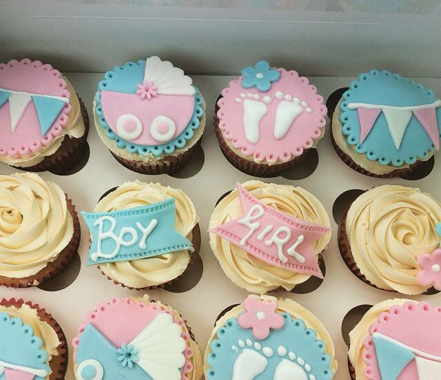Baby Shower Cupcakes Unisex Pink And Blue Mix Baby Shower